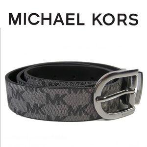 Michael Kors MK Logo Belt Reversible Black/Gray